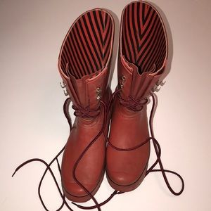HUNTER FESTIVAL Women's Lace Up Sz 8 Rainboots